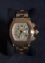 Cartier gold men's wristwatch silver dial Roadster Chrono B&P W62021Y2