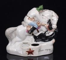 Agitation porcelain inkstand 'Red cavalier attacking to Mussolini'