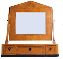 19th century Russian Biedermeier-style Karelian birch mirror