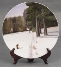19/20th century Russia Kuznetsov porcelain factory Porcelain wall plate 'Hunt'