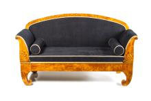 First half of 19th century Biedermeier style birch sofa