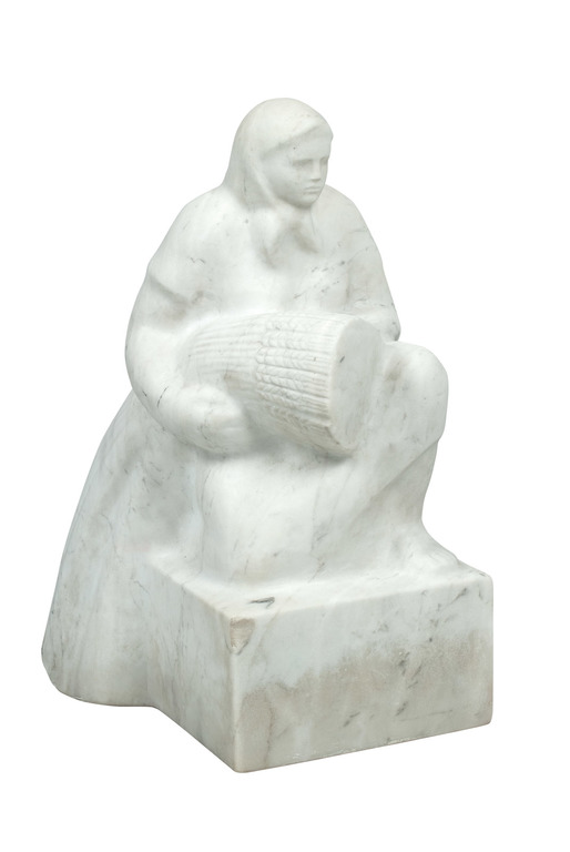 Beginning of 20th century Latvia lvine Veinbaha(1923-2011) Marble sculpture 'Harvesting'