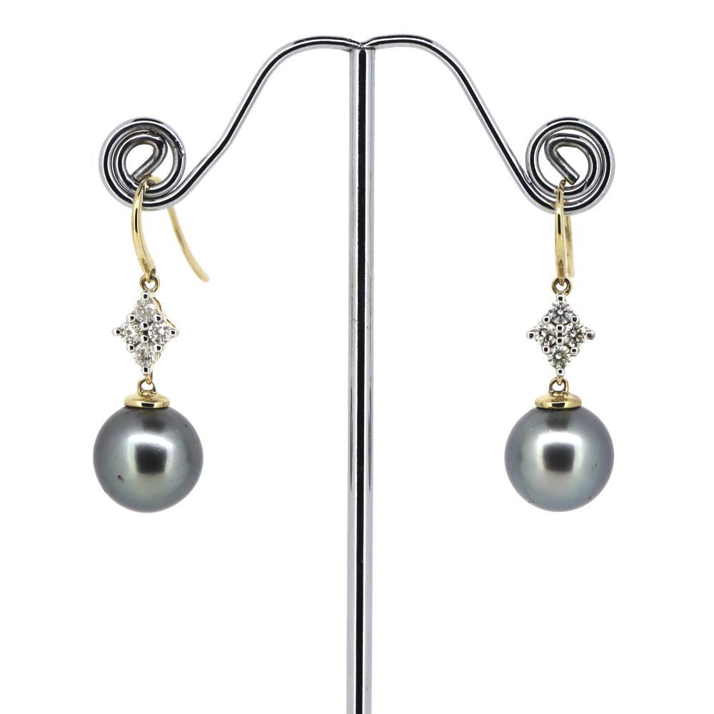 14K Yellow Gold, Cultured Tahitian Pearl and Diamond, Drop Earrings