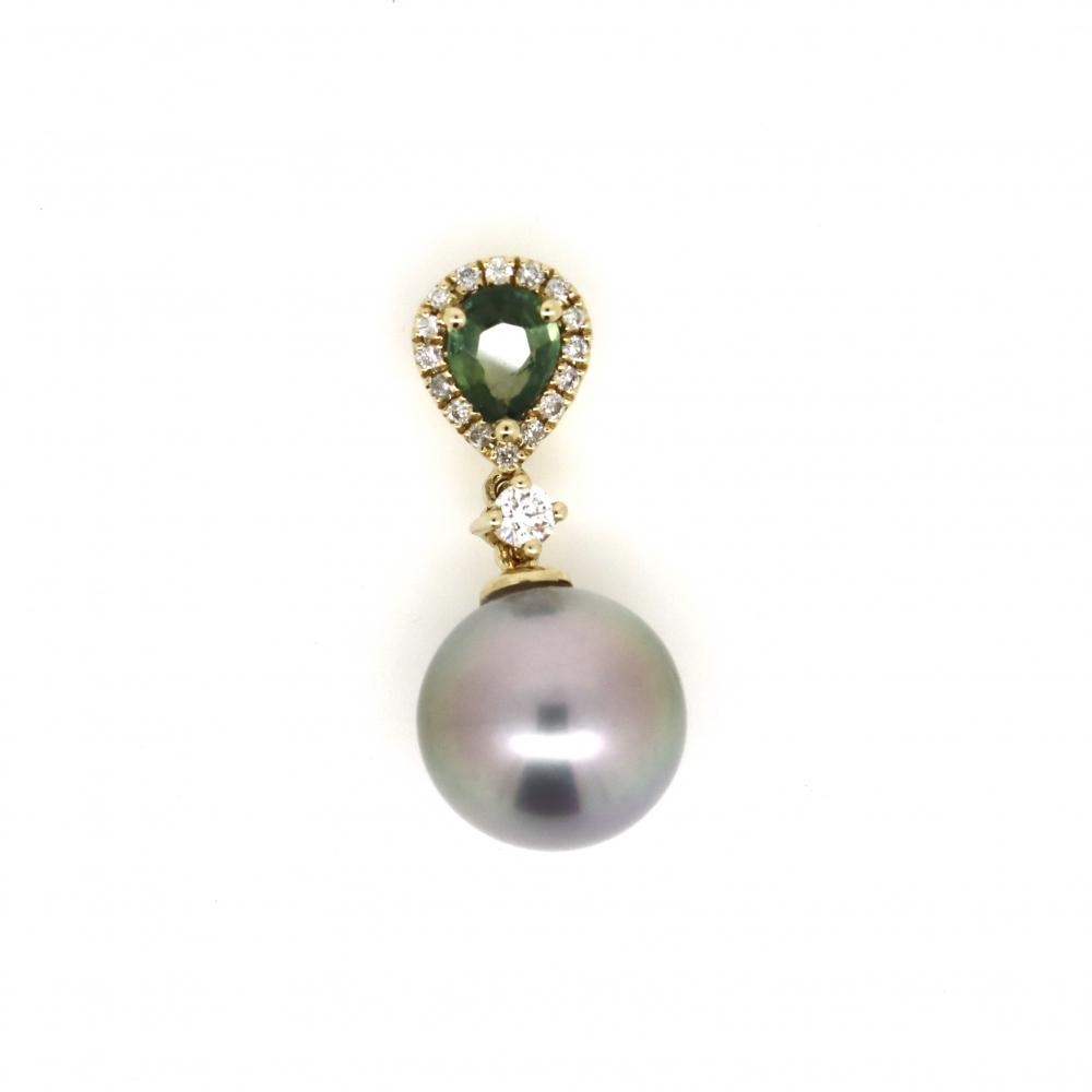 14K Yellow Gold, Cultured Pearl, Sapphire and Diamond, Pendant