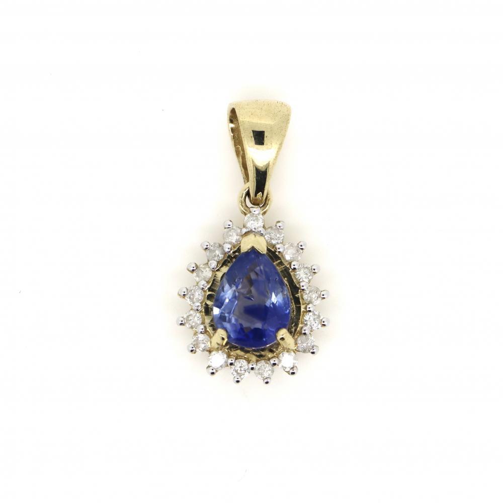 14K Yellow Gold, Sapphire and Diamond, Vintage Style Halo Pendant