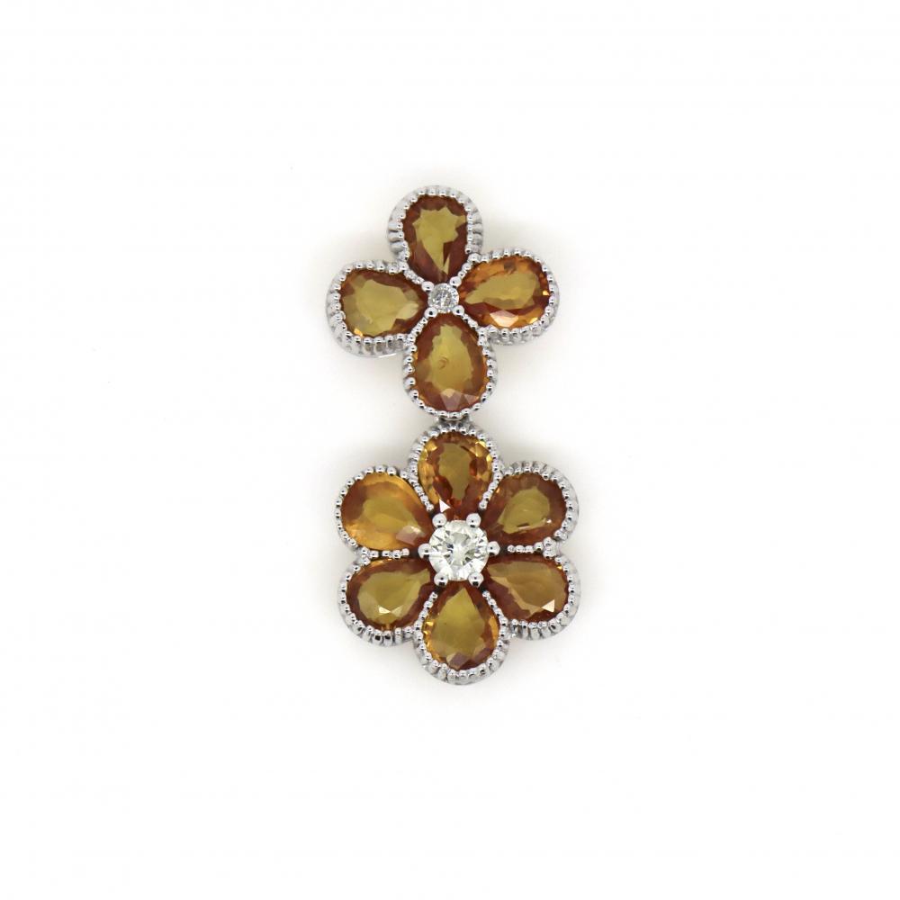 14K White Gold, 3.37ct TSW, Orange Ceylon Sapphire and Diamond, Floral Design Drop Pendant