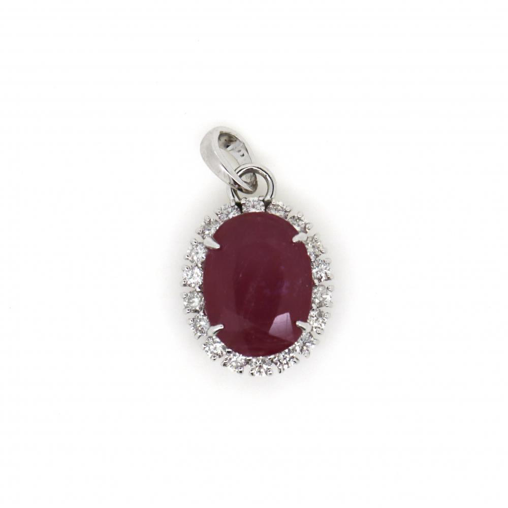 14K White Gold, Ruby and Diamond, Antique Style Halo Pendant