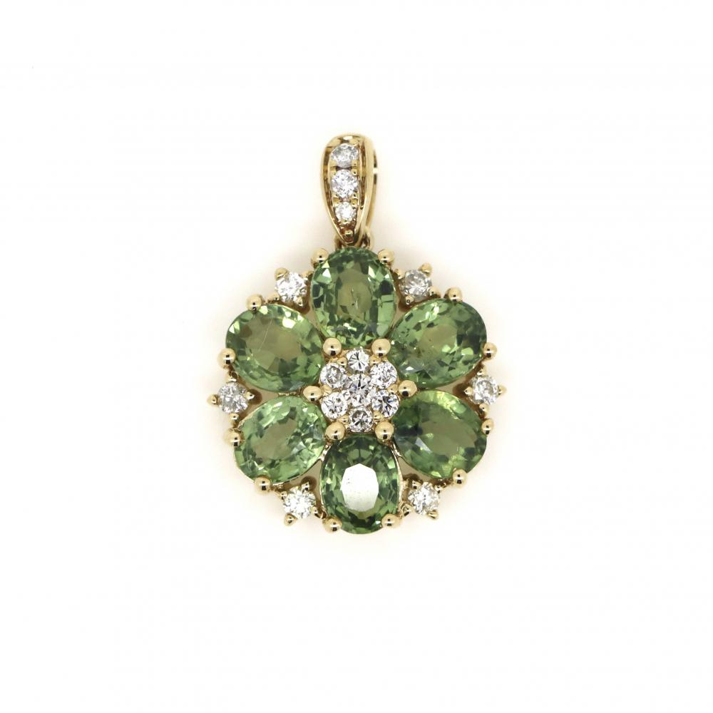 14K Yellow Gold, Green Sapphire and Diamond, Floral Design Pendant