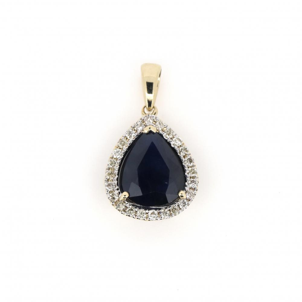 14K Yellow Gold, Sapphire and Diamond, Halo Pendant
