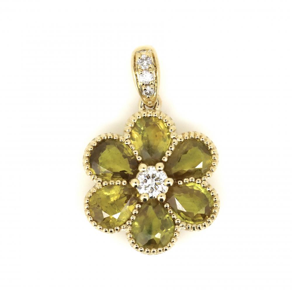 14K Yellow Gold, Sapphire and Diamond, Flower Style Pendant