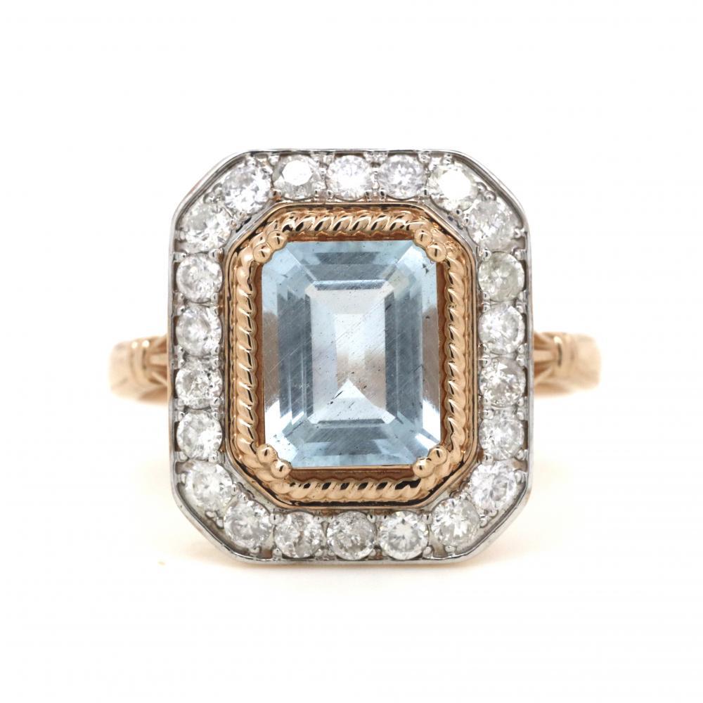 14K Rose Gold, Aquamarine and Diamond, Antique Inspired Art Deco Ring