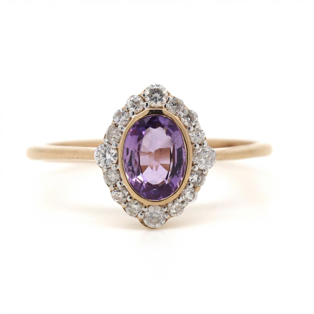 14K Rose Gold, Pink Sapphire and Diamond, Antique Style Halo Ring
