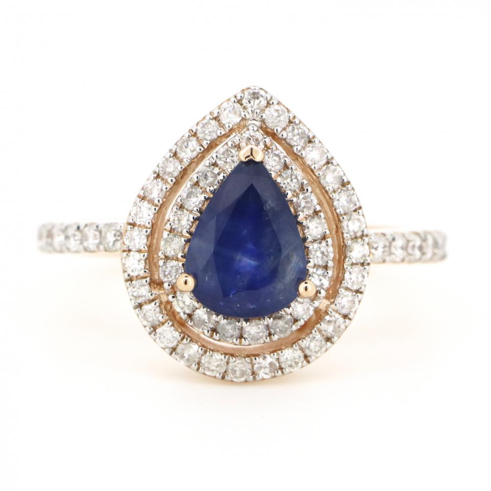 14K Rose Gold, Blue Sapphire and Diamond, Double Halo Cocktail Ring