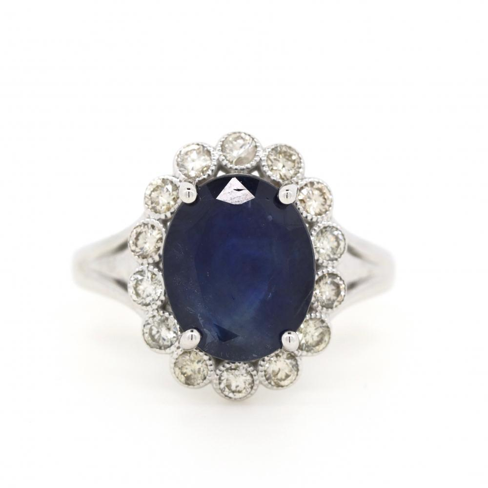 14K White Gold, Blue Sapphire and Diamond, Antique Style Scalloped Halo Ring