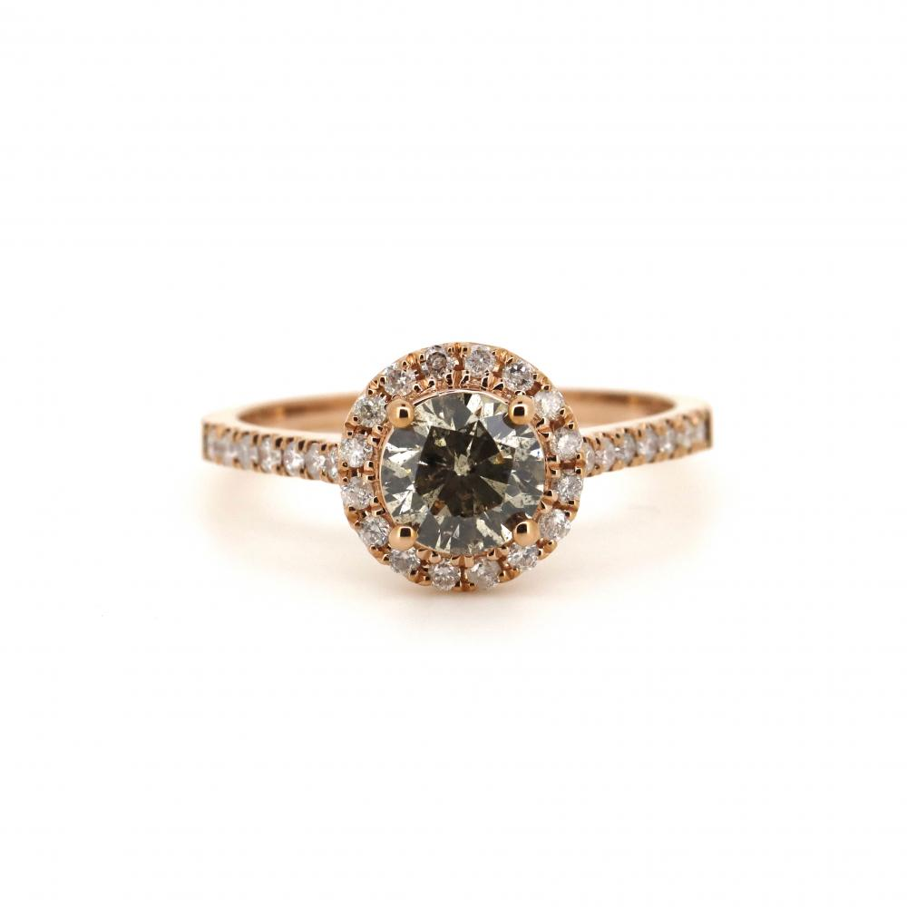 14K Rose Gold and Diamond, Halo Ring
