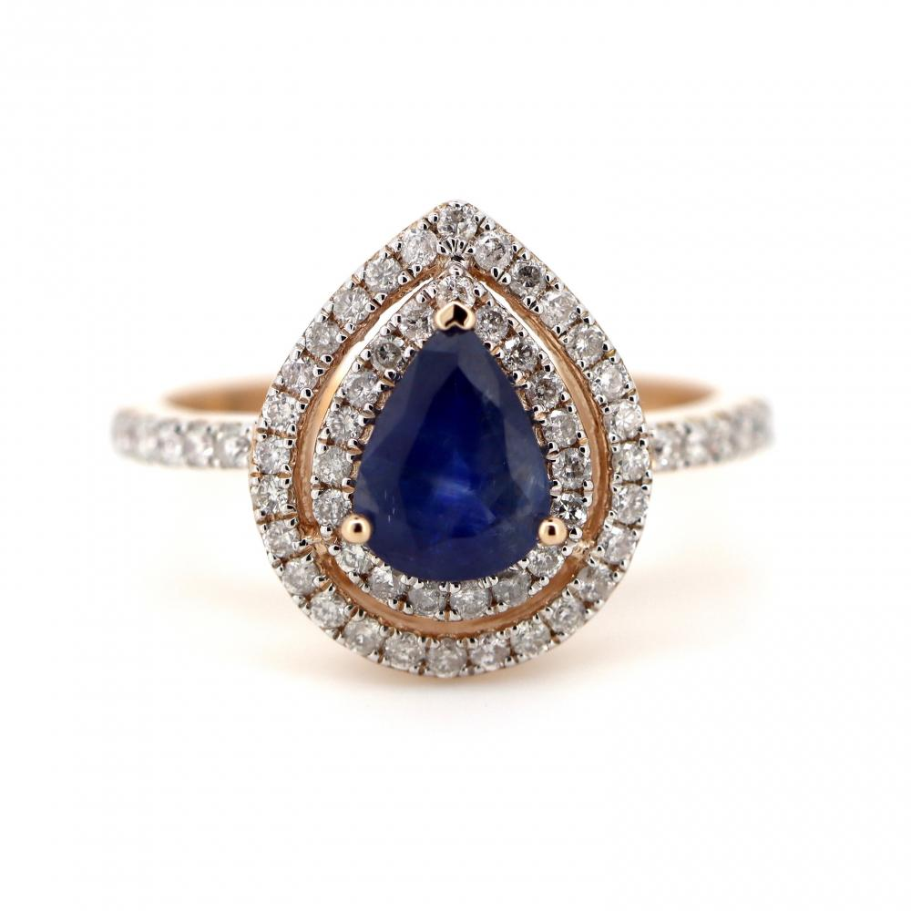 14K Rose Gold, Blue Sapphire and Diamond, Double Halo Ring