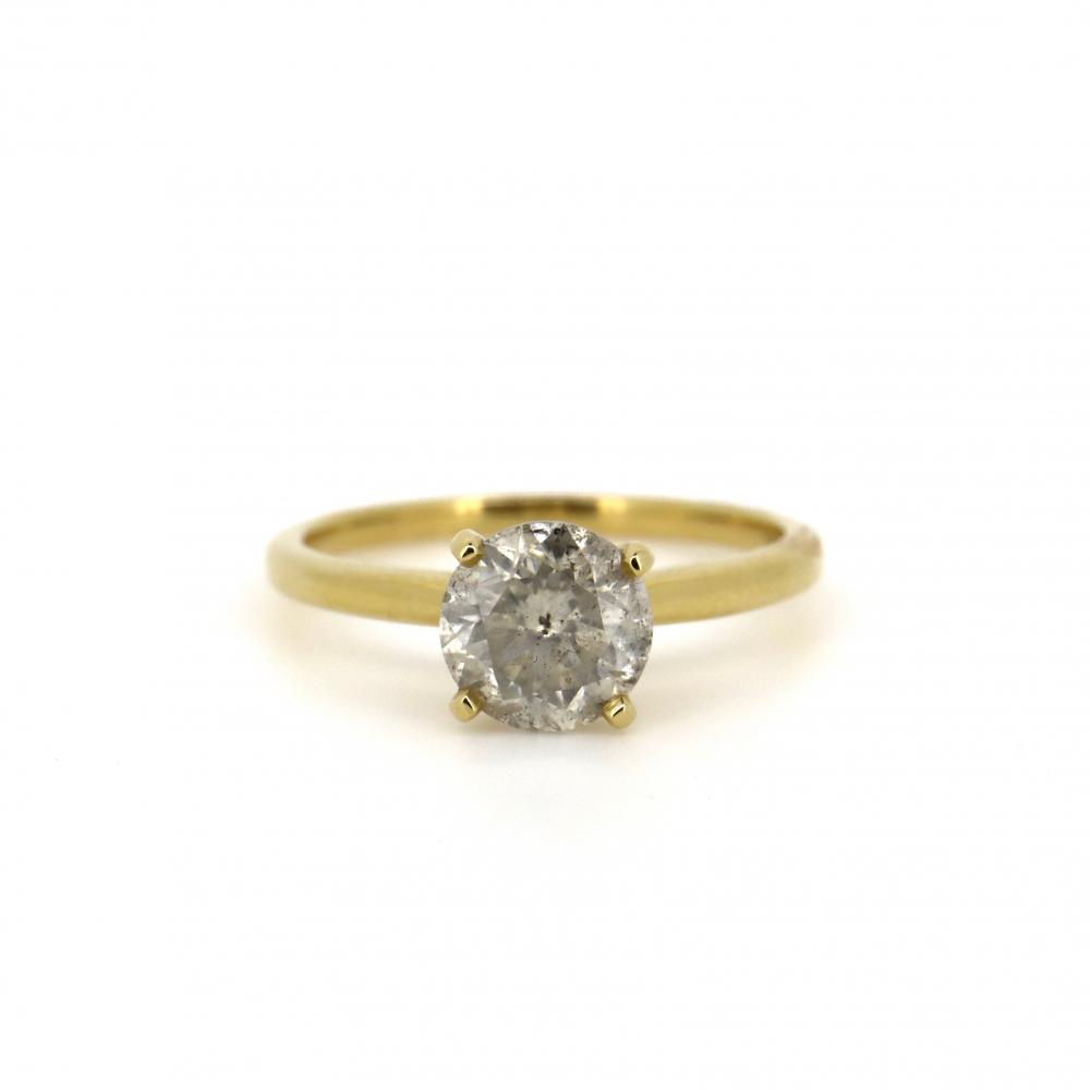 14K Yellow Gold and 1.53ct Diamond, Solitaire Ring