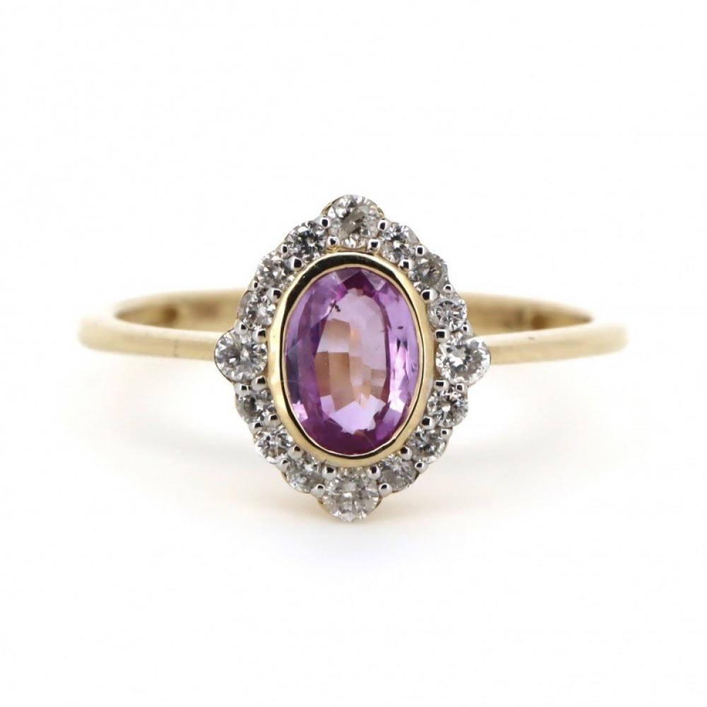 14K Yellow Gold, Pink Sapphire and Diamond, Antique Style Halo Ring