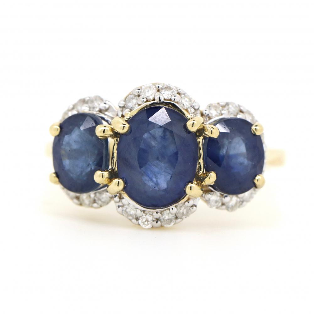 14K Yellow Gold, Blue Sapphire and Diamond, Vintage Inspired Trilogy Halo Ring