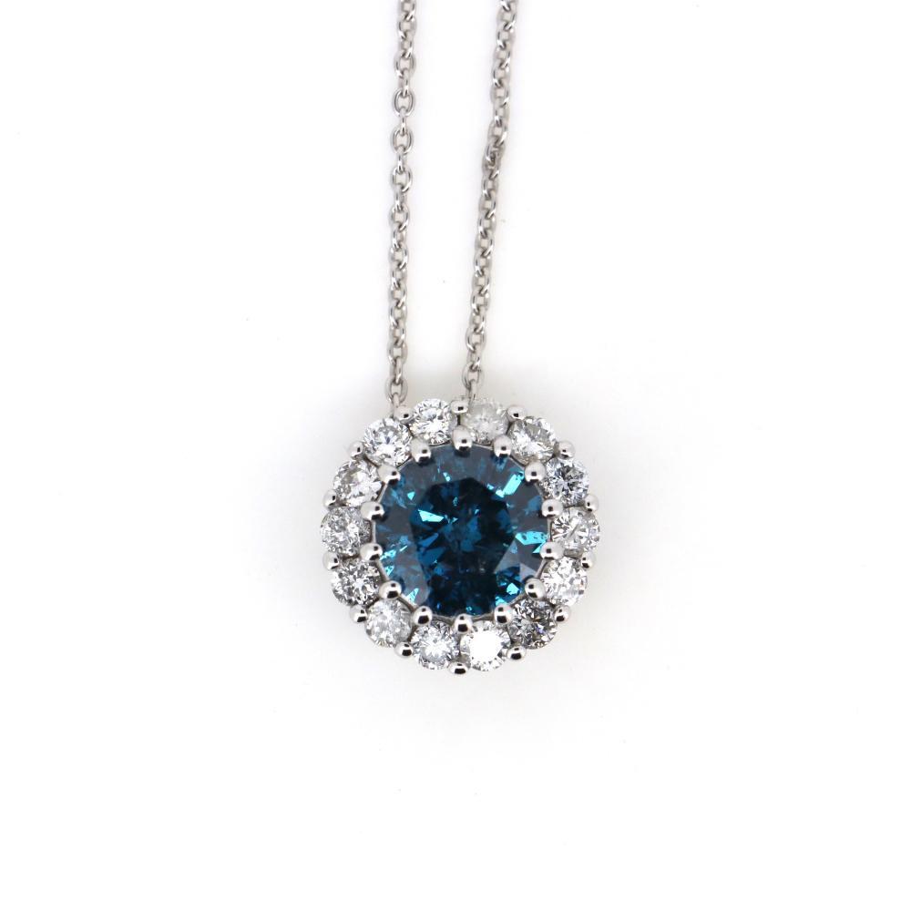 14K White Gold and Blue Diamond, Slider Pendant Necklace