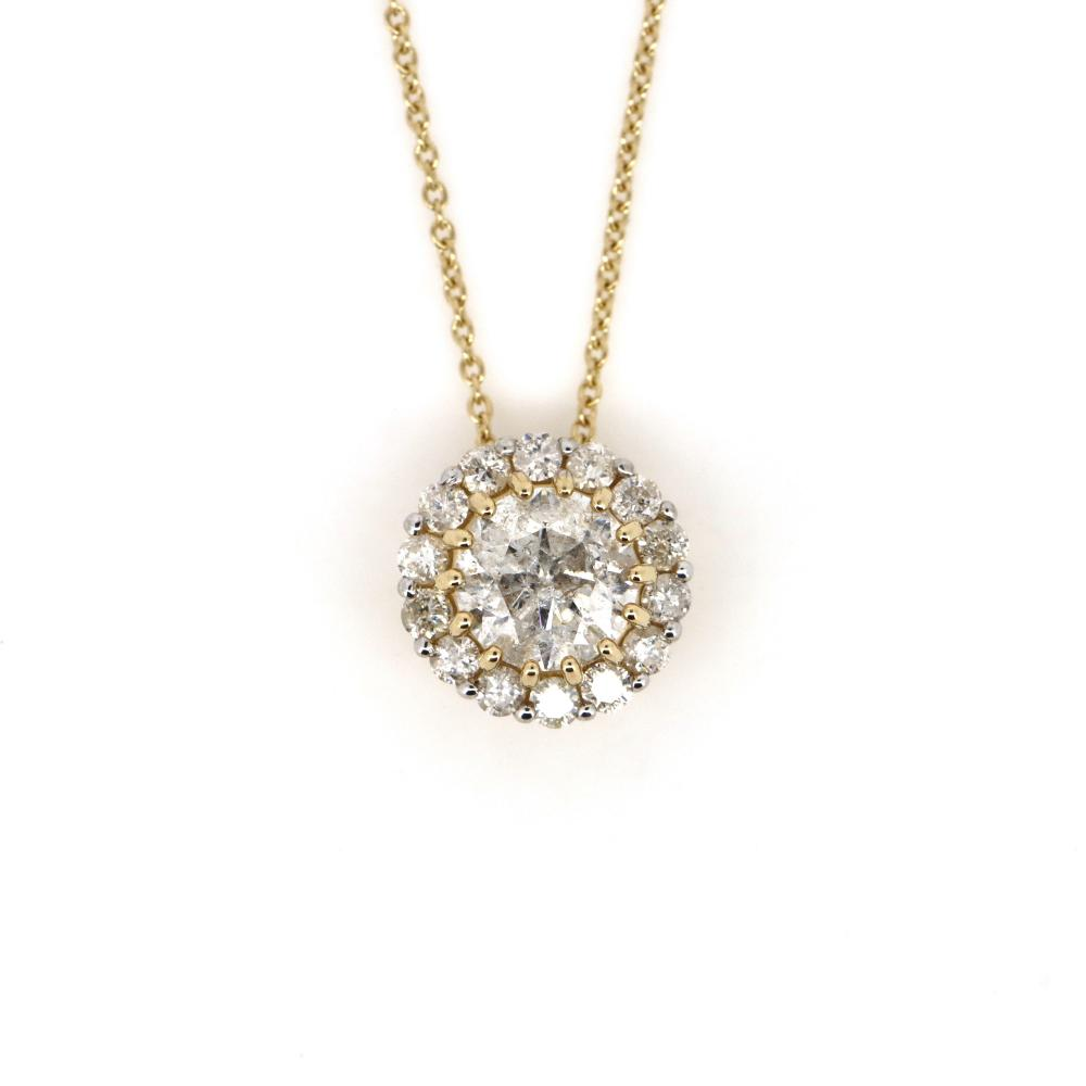 14K Yellow Gold and Diamond, Halo Slider Pendant and Necklace