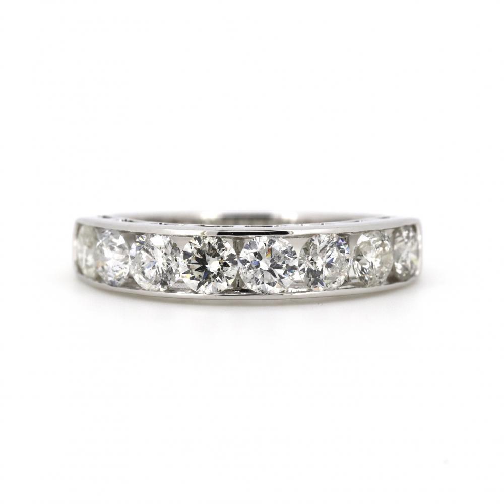 14K White Gold, 1.50ct TDW Diamond, Channel Set Ring