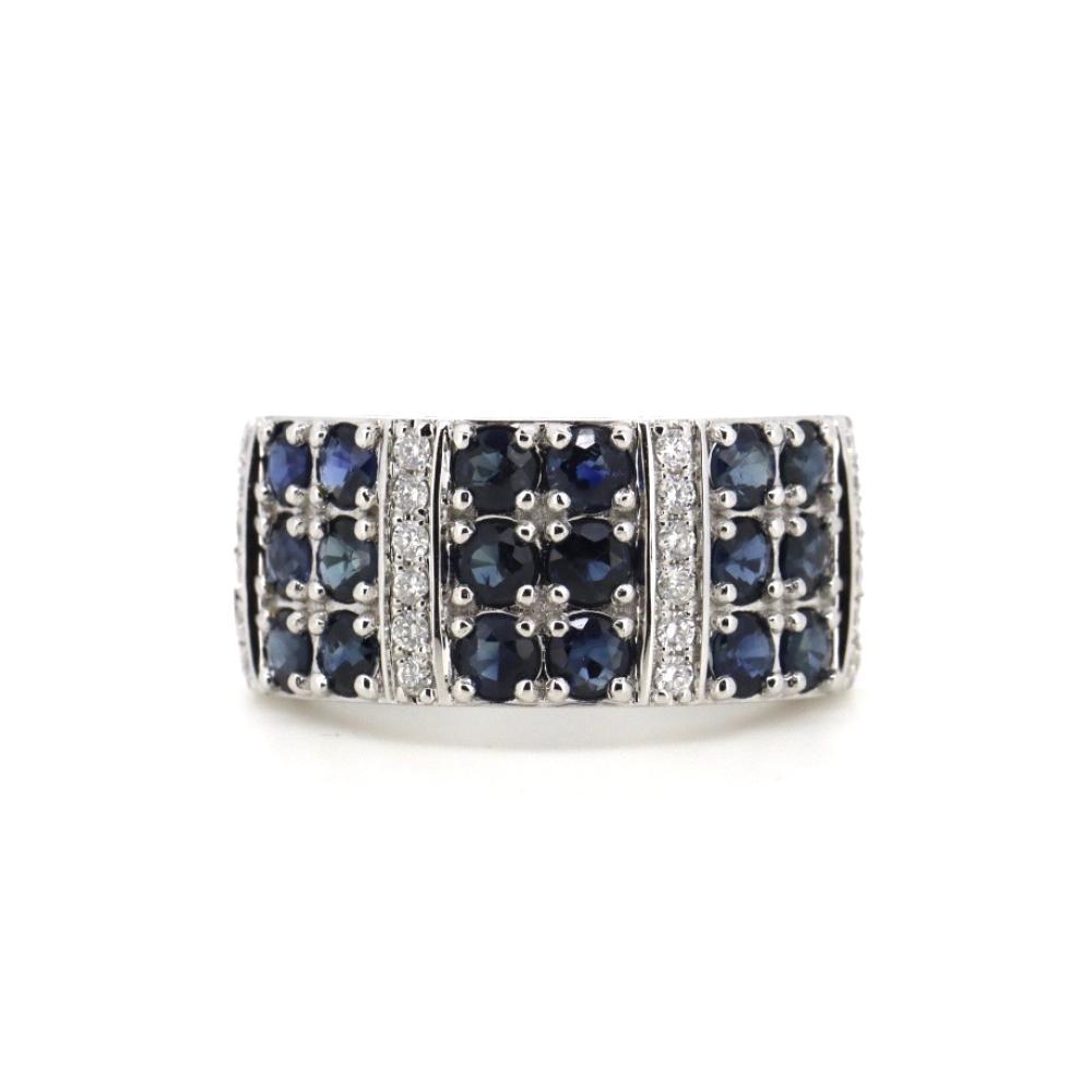 14K White Gold, Sapphire and Diamond, Decorative Band Ring