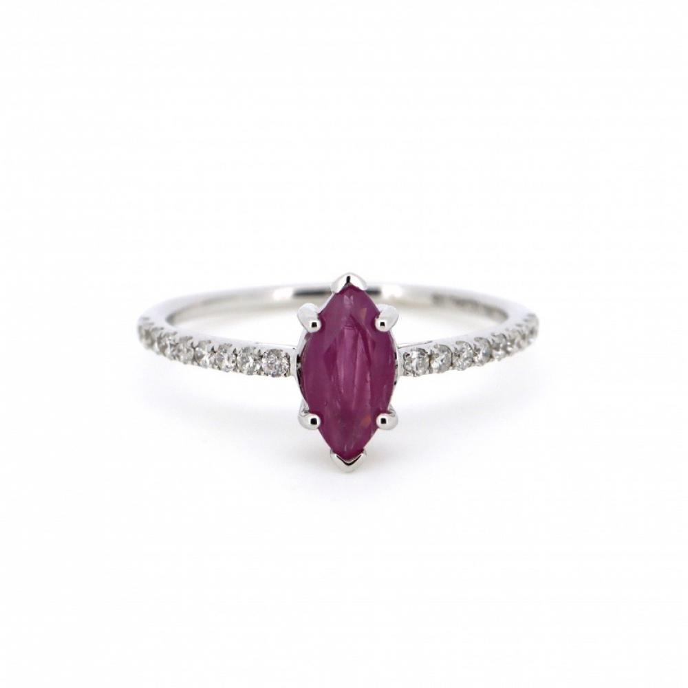 14K White Gold, Ruby and Diamond, Vintage Style Ring