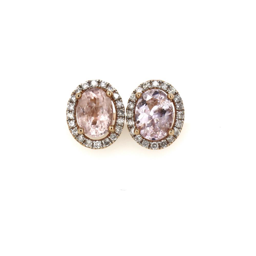 14K Rose Gold, Morganite and Diamond, Halo Stud Earrings