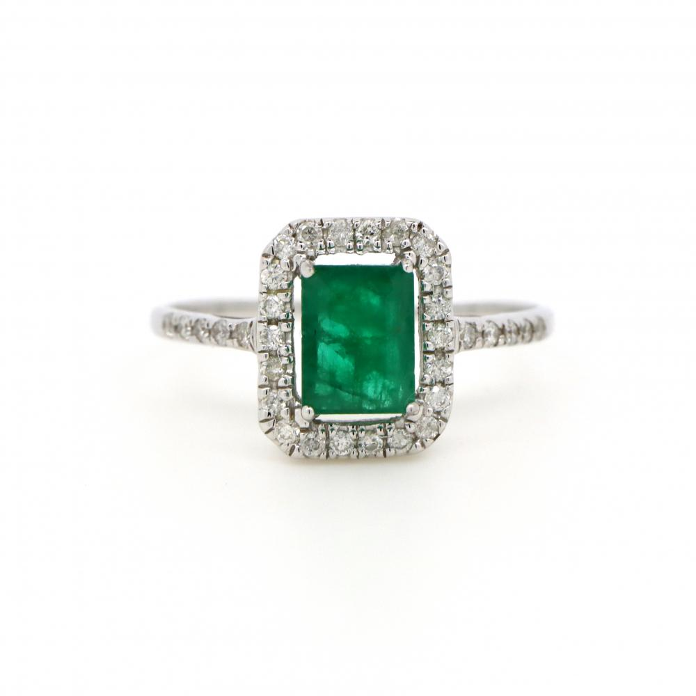 10K White Gold, Emerald and Diamond, Vintage Style Halo Ring