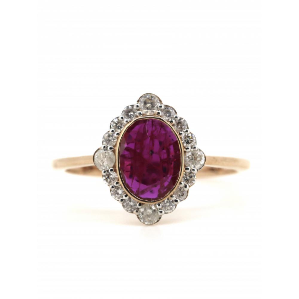 14K Rose Gold, Ruby and Diamond, Vintage Inspired Halo Ring
