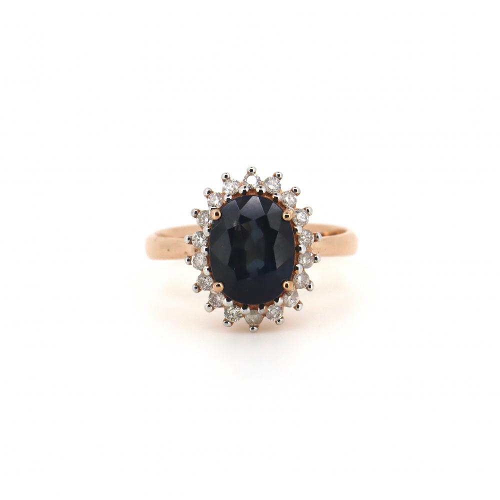 14K Rose Gold, Sapphire and Diamond, Vintage Style Halo Ring
