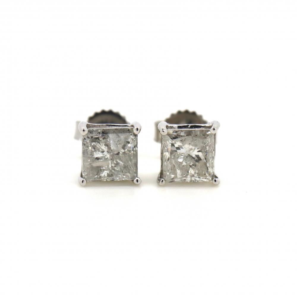 14K White Gold, 1.00ct TDW Diamond, Stud Earrings