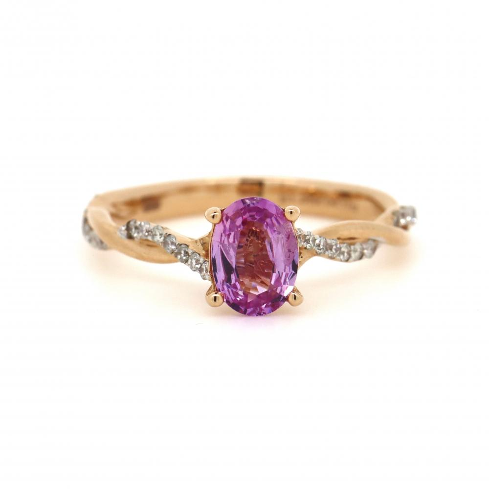 14K Yellow Gold, Pink Sapphire and Diamond, Vintage Style Ring