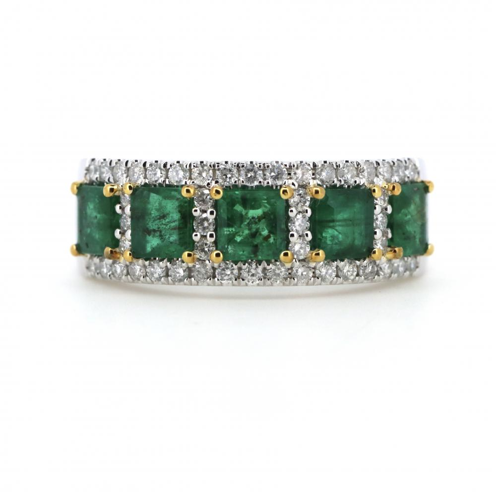 14K White Gold, Emerald and Diamond, Decorative Band Ring
