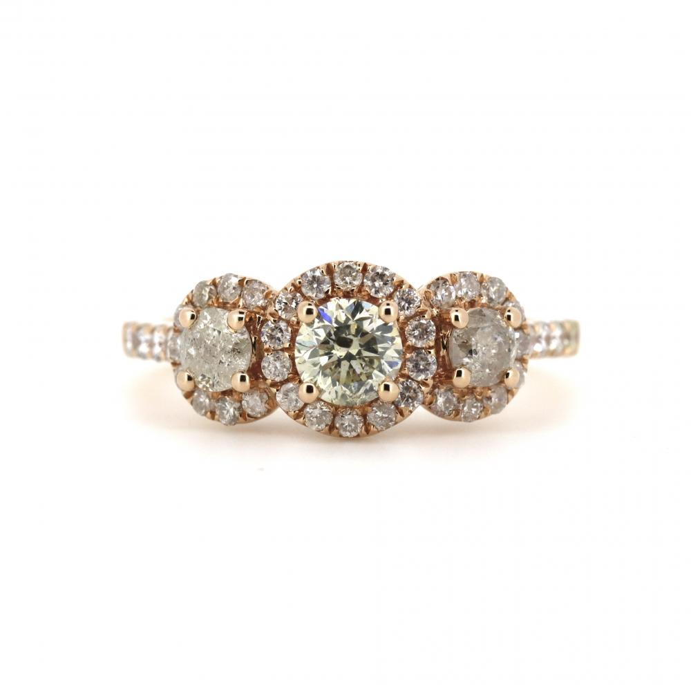 14K Rose Gold and Diamond, Trilogy Ring