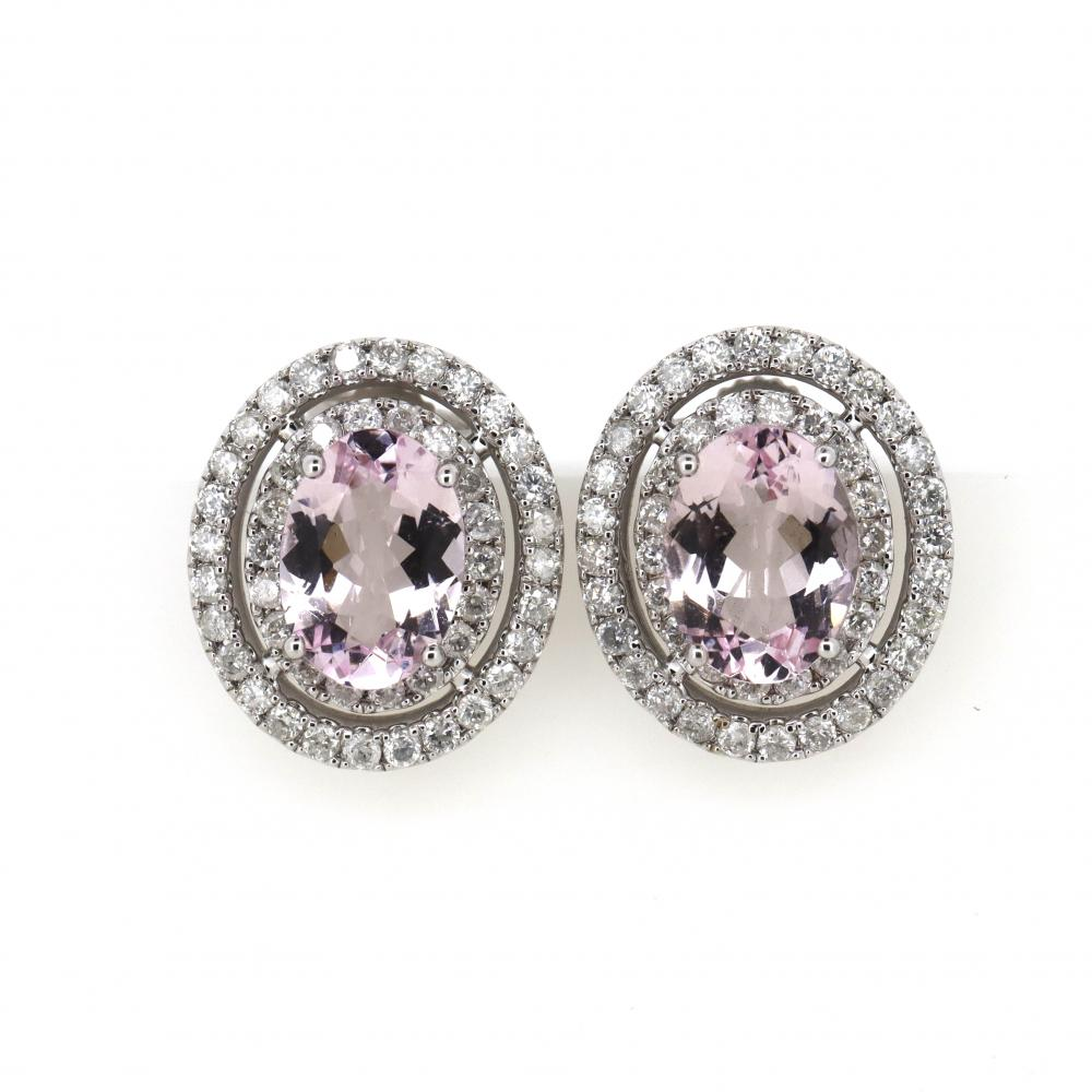 14K White Gold, Morganite and Diamond, Double Halo Earrings