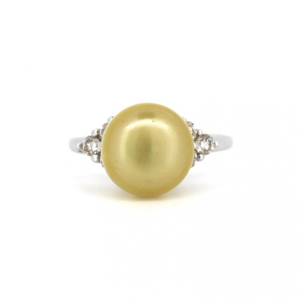 14K White Gold, Cultured South Sea Pearl and Diamond, Vintage Style Ring