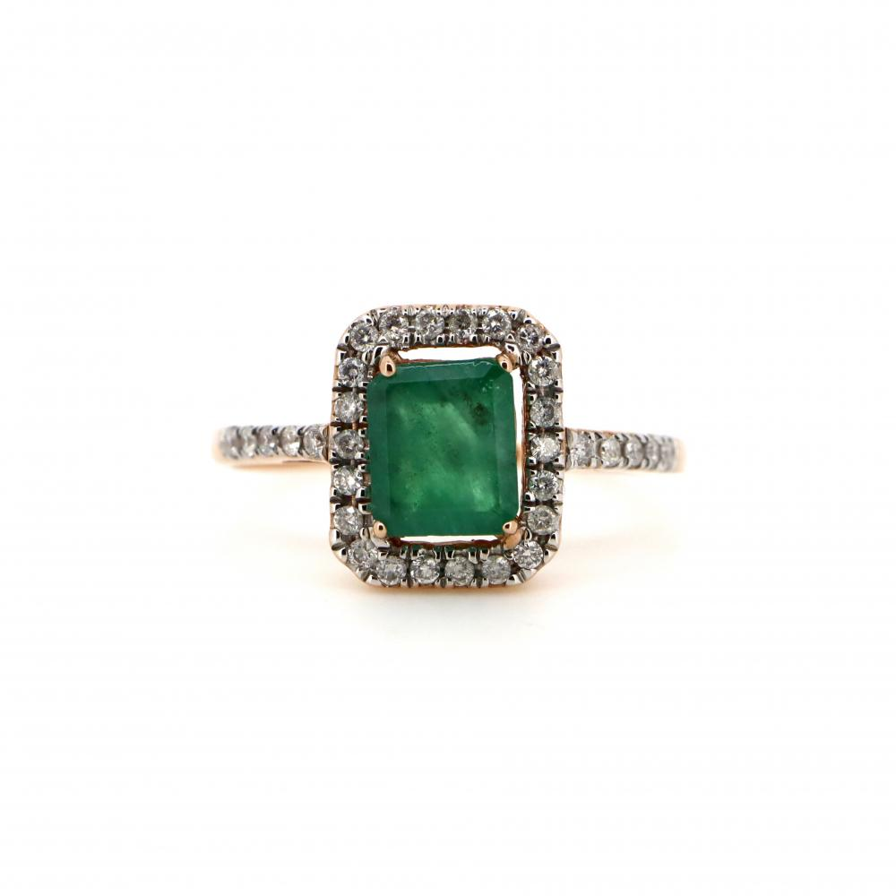 10K Rose Gold, Emerald and Diamond, Vintage Style Halo Ring