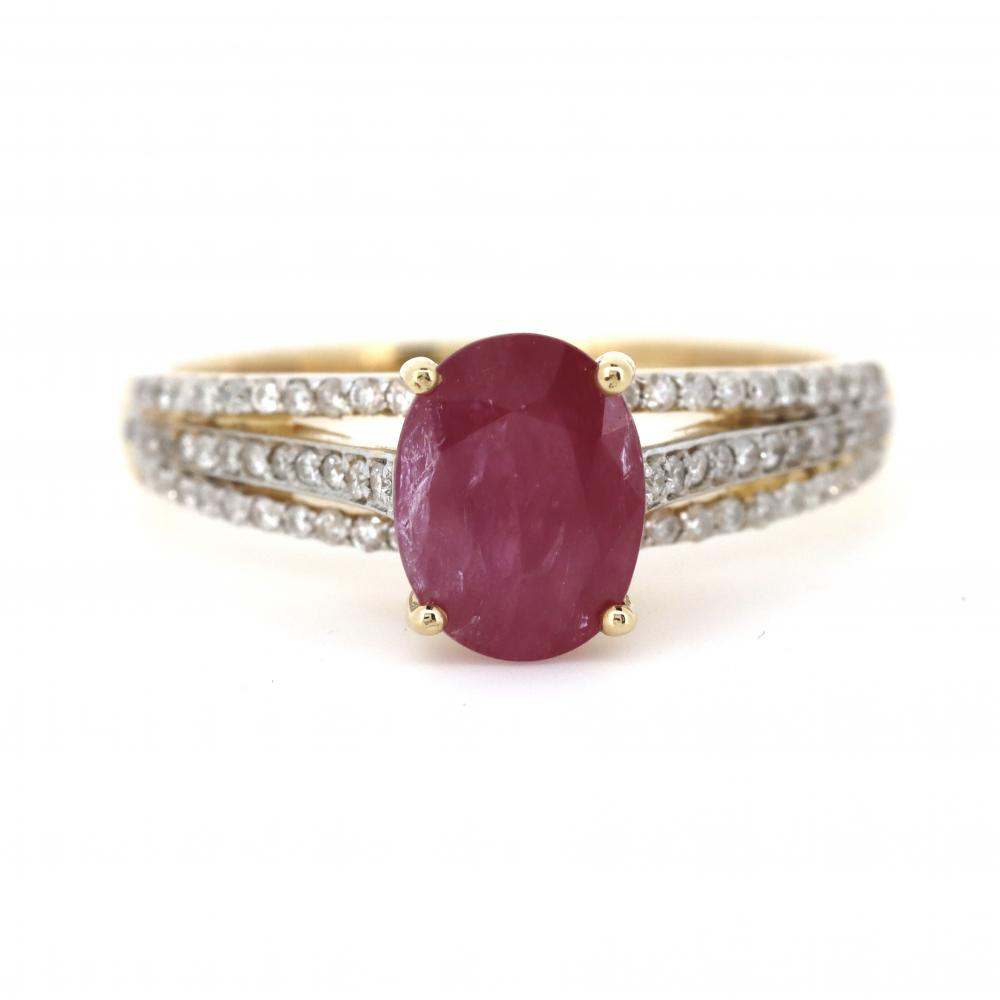 14K Yellow Gold, Pink Sapphire and Diamond, Split Band Ring