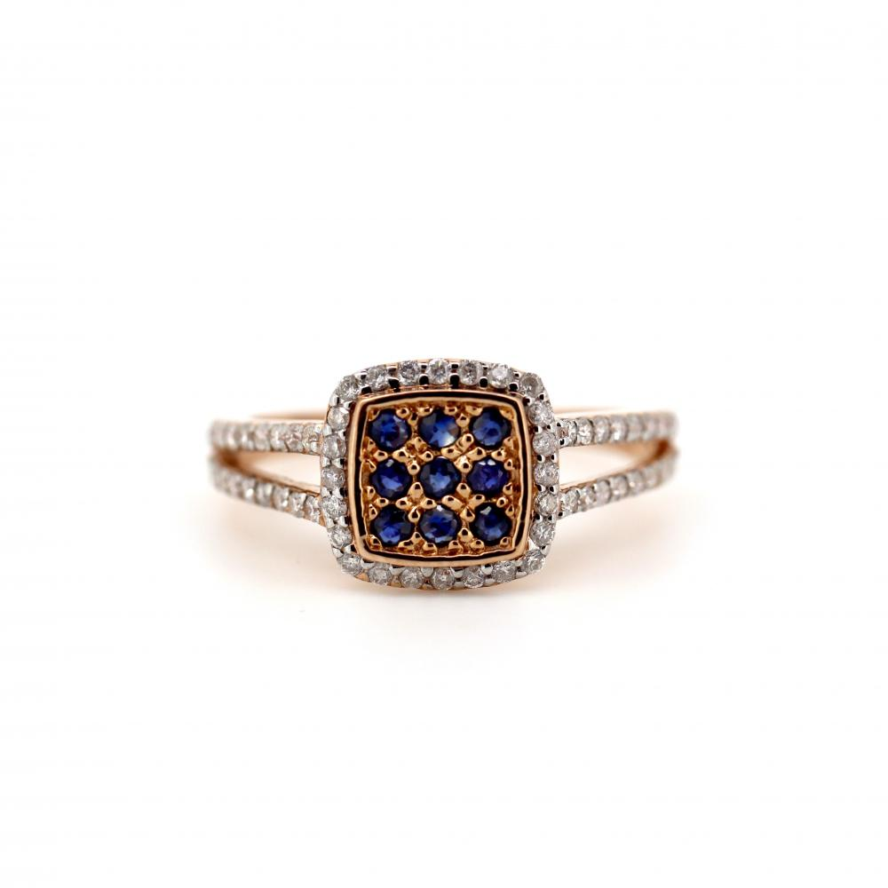 10K Rose Gold, Sapphire and Diamond, Antique Style Ring
