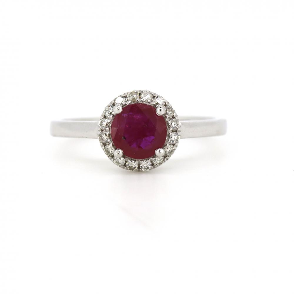 14k White Gold, Ruby and Diamond, Vintage Design Halo Ring