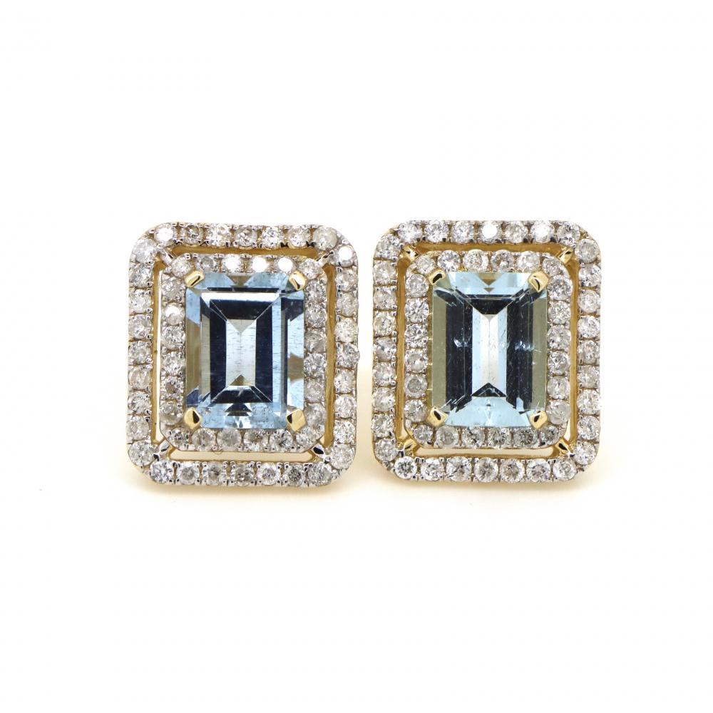14K Yellow Gold, Aquamarine and Diamond, Double Halo Stud Earrings