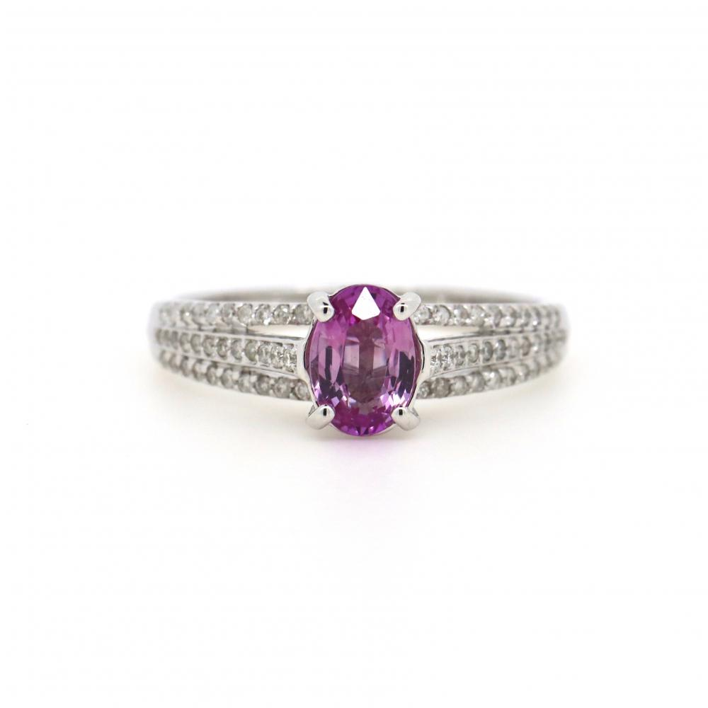 14K White Gold, Pink Sapphire and Diamond, Split Band Ring