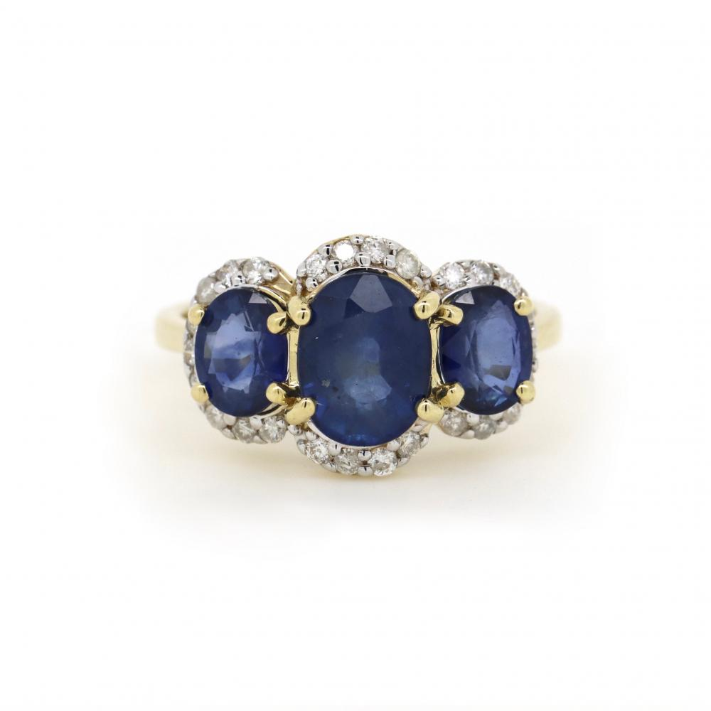 14K Yellow Gold, Sapphire and Diamond, Trilogy Halo Ring