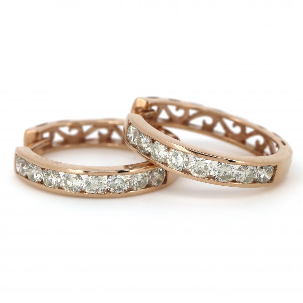 14K Rose Gold, 1.12ct TDW Diamond, Hoop Earrings