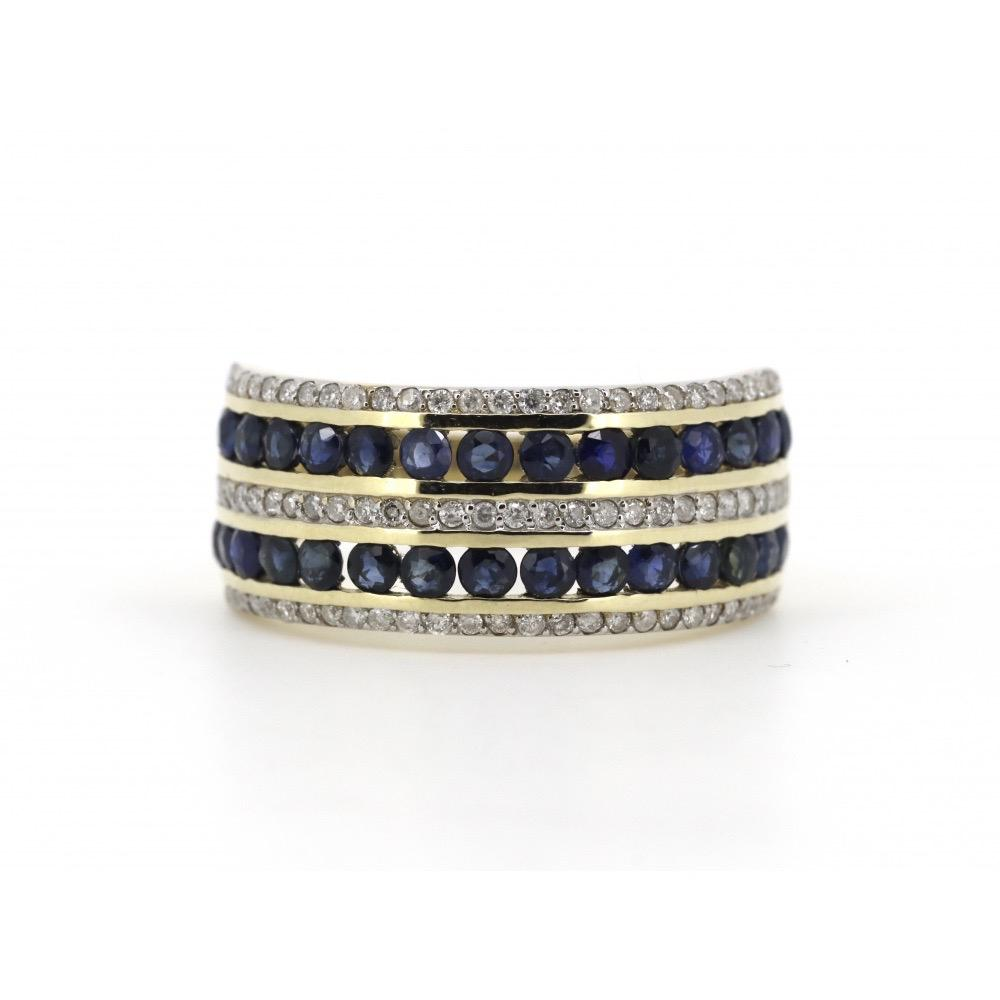 10K Yellow Gold, Sapphire and Diamond, Vintage Inspired Ring