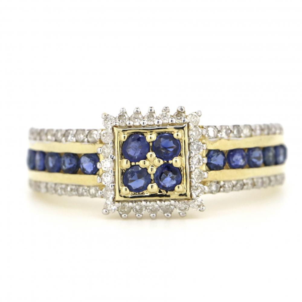 10K Yellow Gold, Sapphire and Diamond, Antique Style Ring