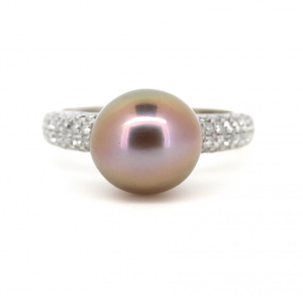 14K White Gold, Cultured Pearl and Diamond, Vintage Inspired Ring