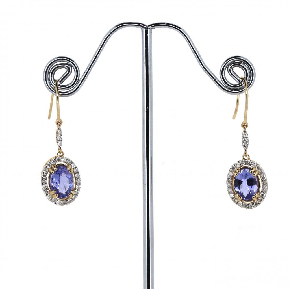 14K Yellow Gold, Tanzanite and Diamond, Drop Style Halo Earrings